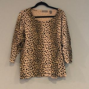 Kate Hill 2x animal print long sleeve top